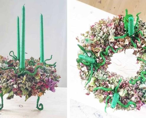 Adventskrans af hortensiaer