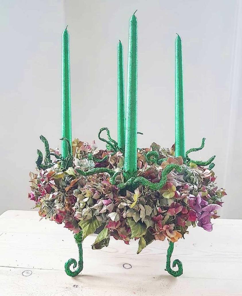 Grøn adventskrans forside