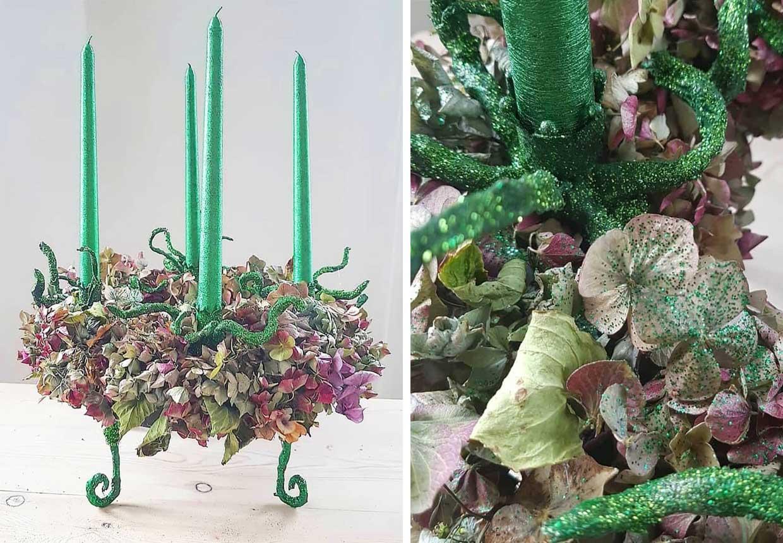 Adventskrans hortensia detaljer
